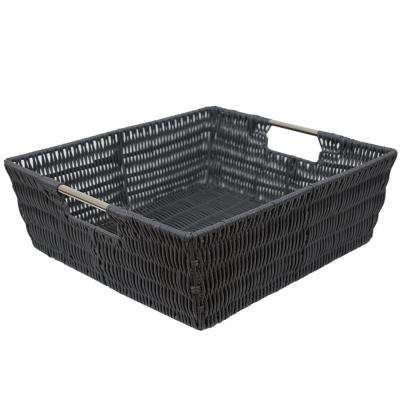 Intricate Decorative Weave 13 in. x 5 in. Grey Basket