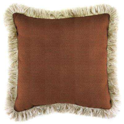Sunbrella Linen Chili Square Outdoor Throw Pillow with Canvas Fringe