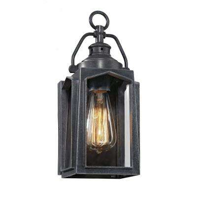 1-Light Charred Iron Small Outdoor Wall Mount Lantern