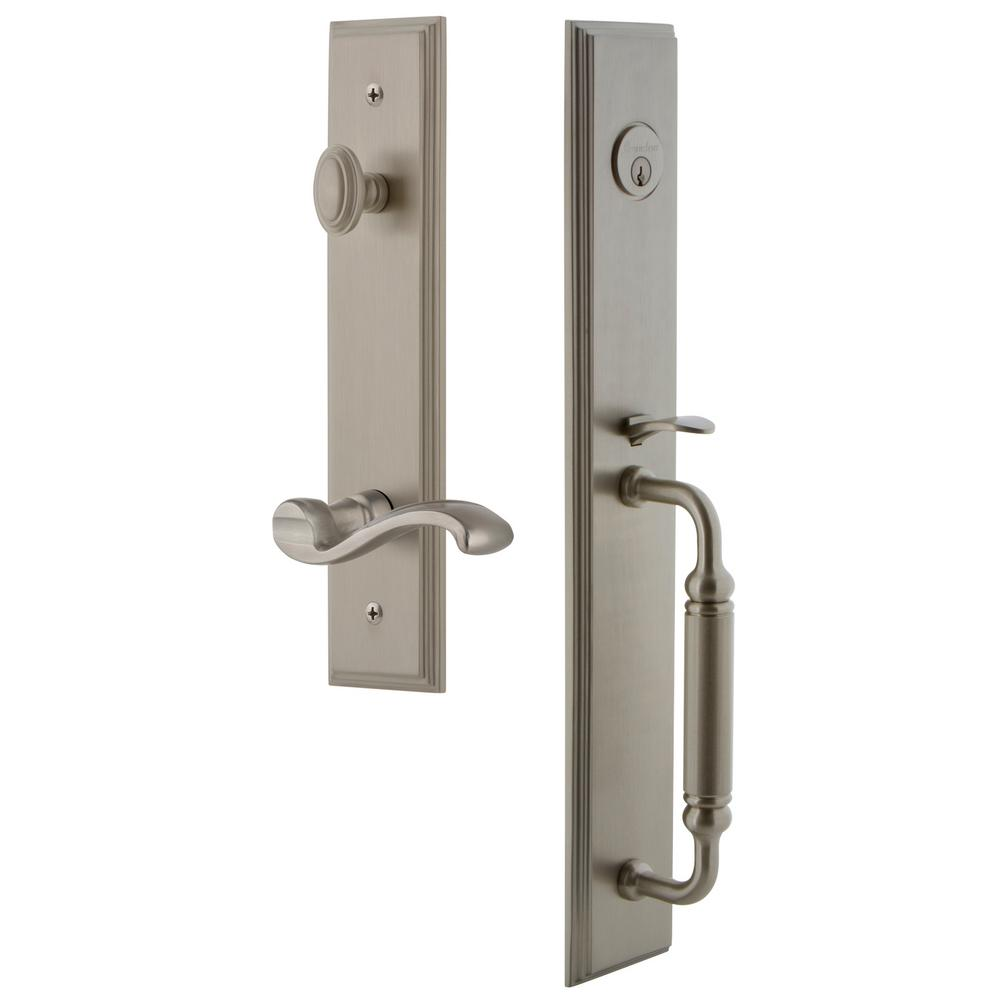 Grandeur Carre Satin Nickel 1-Piece Door Handleset with C Grip and Portofino Lever