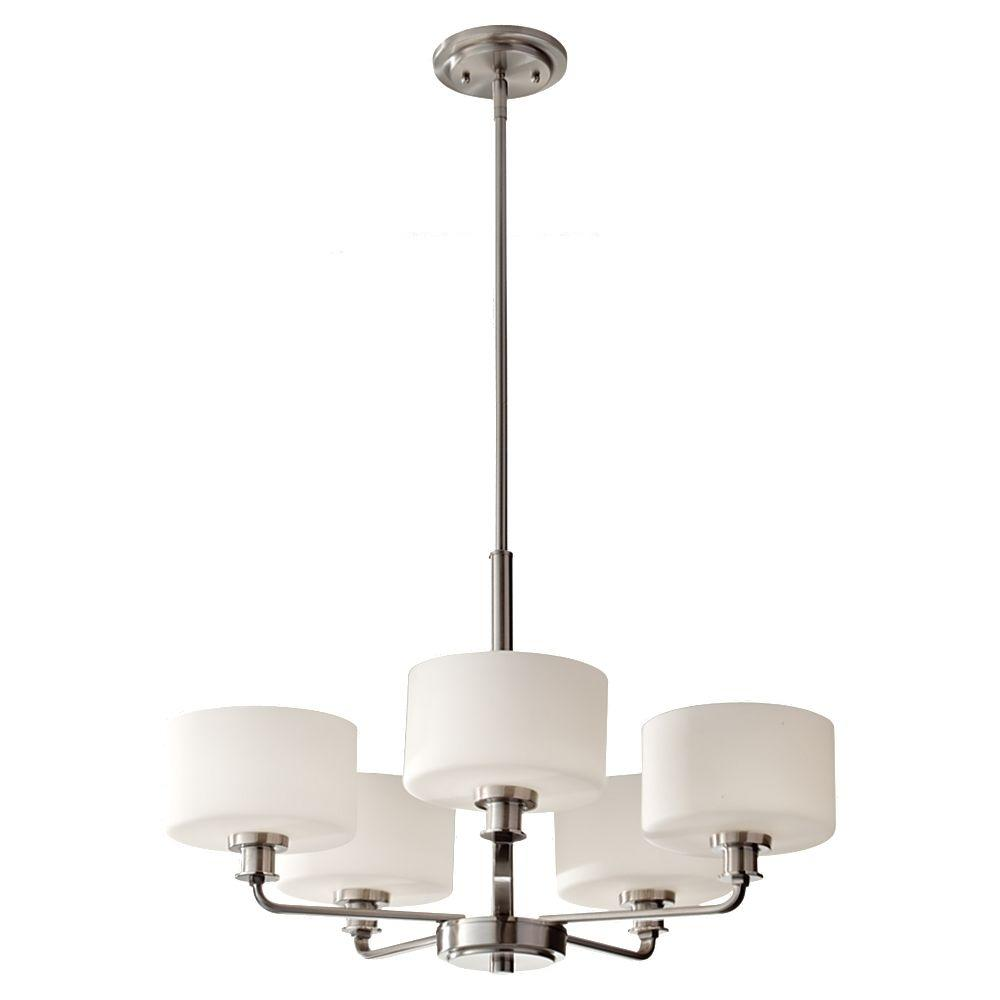 Feiss Kincaid 5 Light Brushed Nickel 1 Tier Chandelier Shade