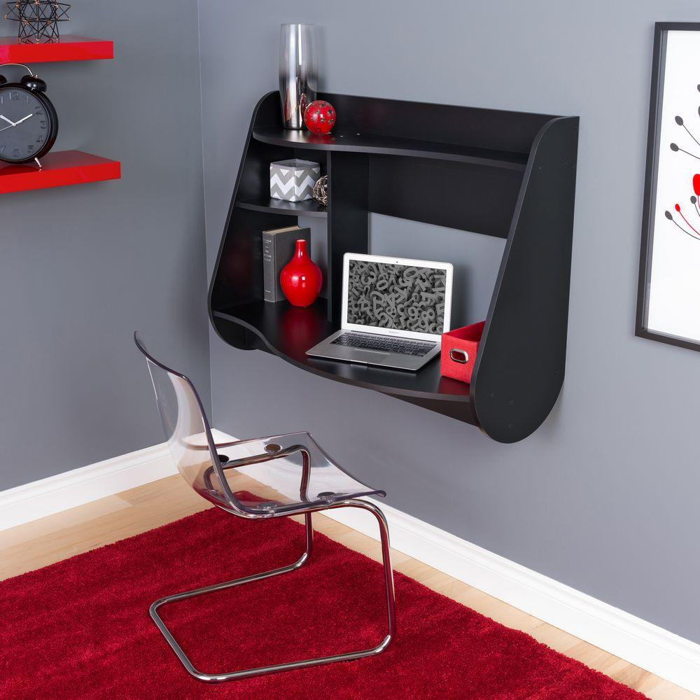 Kurv Black Desk with Shelves