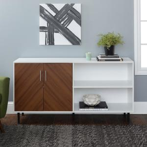 58 in. Solid White Composite TV Stand 69 in. with Doors