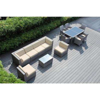 Gray 14-Piece Wicker Patio Combo Conversation Set with Spuncrylic Beige Cushions
