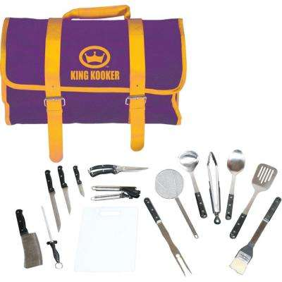 15-Piece Tailgating Grill Tool Set with Purple and Gold Carrying Case