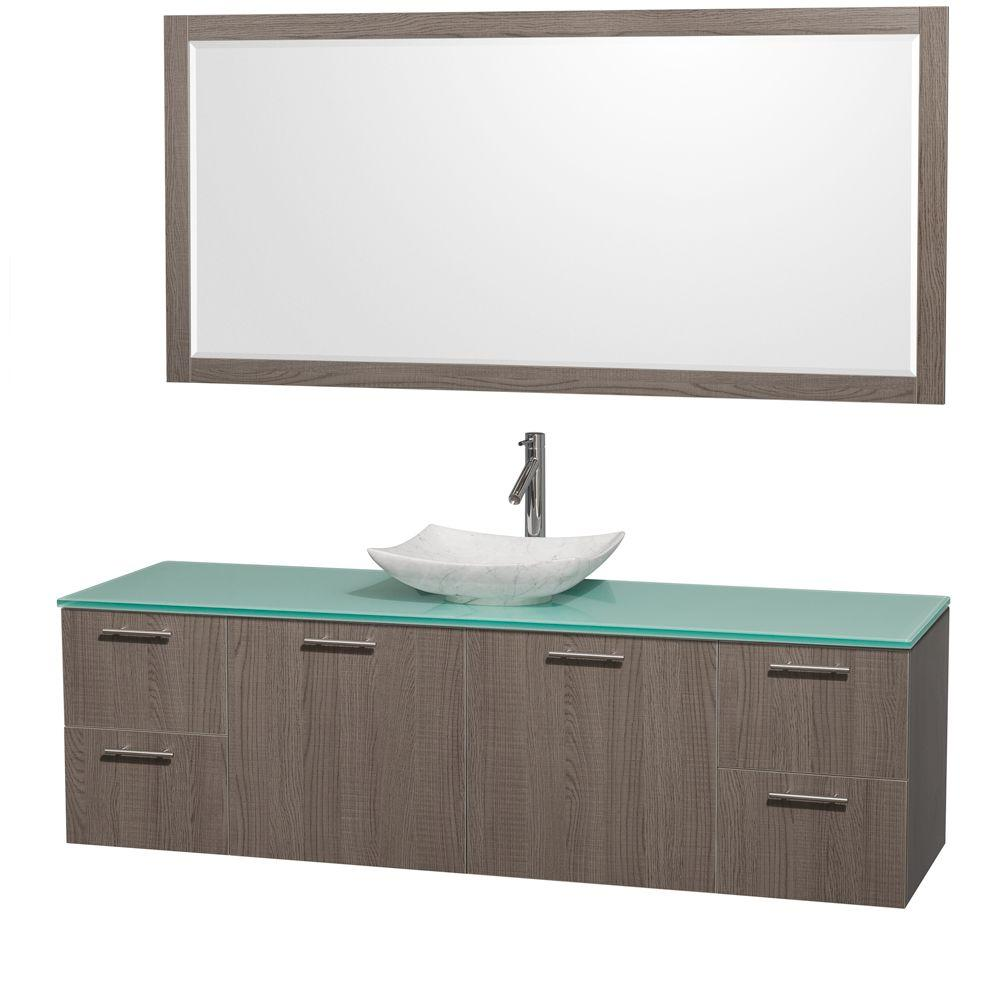 Wyndham Collection Amare 72 in. Vanity in Gray Oak with Glass Vanity Top in Green, Marble Sink and 70 in. Mirror