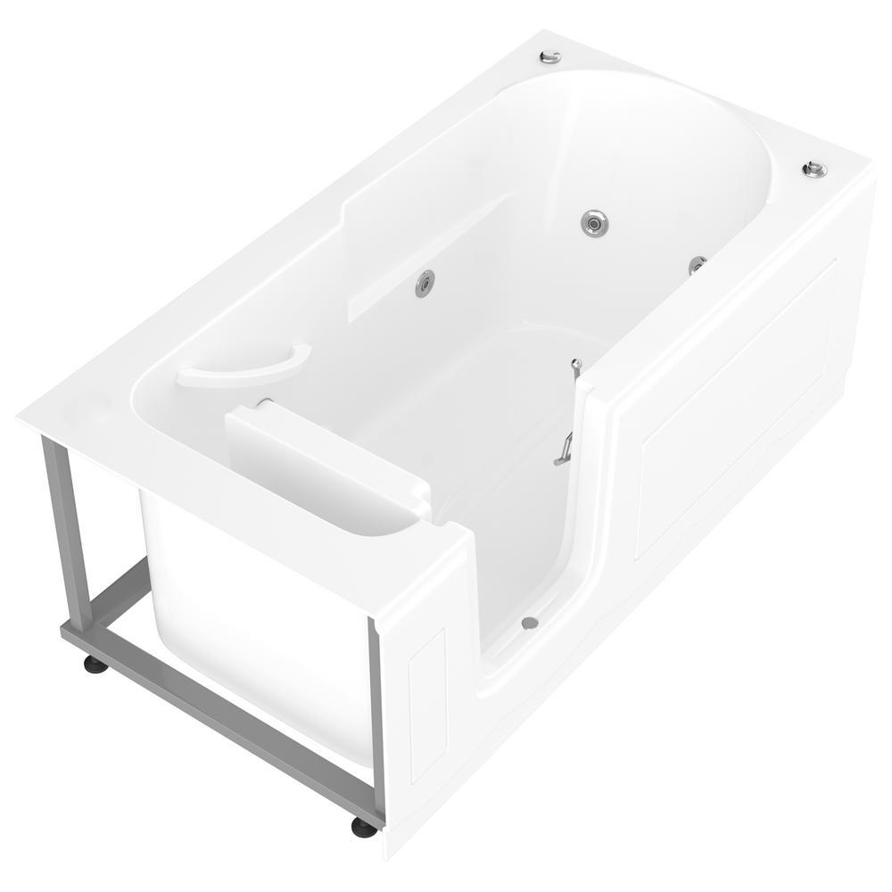 Nova Heated Step-In 5 ft. Walk-In Whirlpool Bathtub in White with Chrome Trim