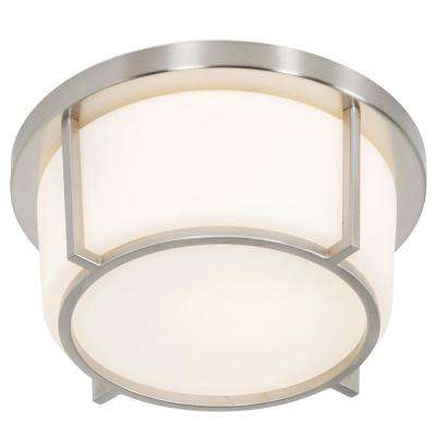 Smart 1-Light Satin Nickel with Opal Glass Flushmount