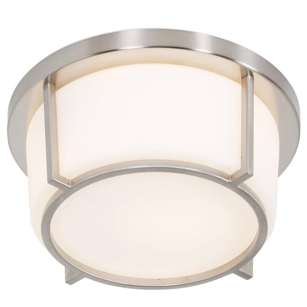 Rogue Decor Smart 1-Light Satin Nickel with Opal Glass Flushmount