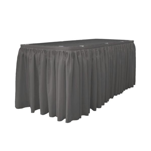 14 ft. x 29 in. Long Charcoal Polyester Poplin Table Skirt with 10 L-Clips