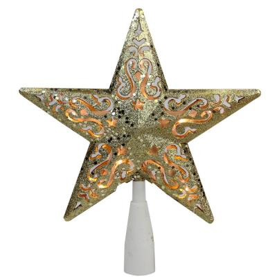 8.5 in. Gold Glitter Star Cut-Out Design Christmas Tree Topper - Clear Lights