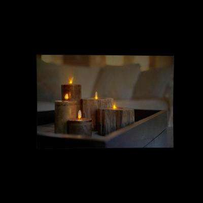 15.75 in. x 23.5 in. LED Lighted Rustic Driftwood Style Candles on Tray Canvas Wall Art