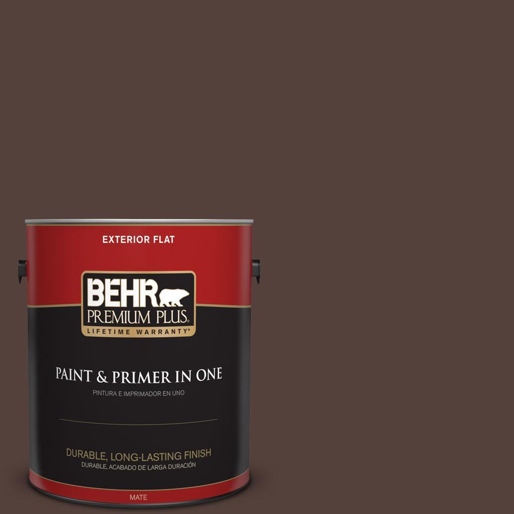 1 gal. #PPF-51 Dark Walnut Flat Flat Exterior Paint and Primer