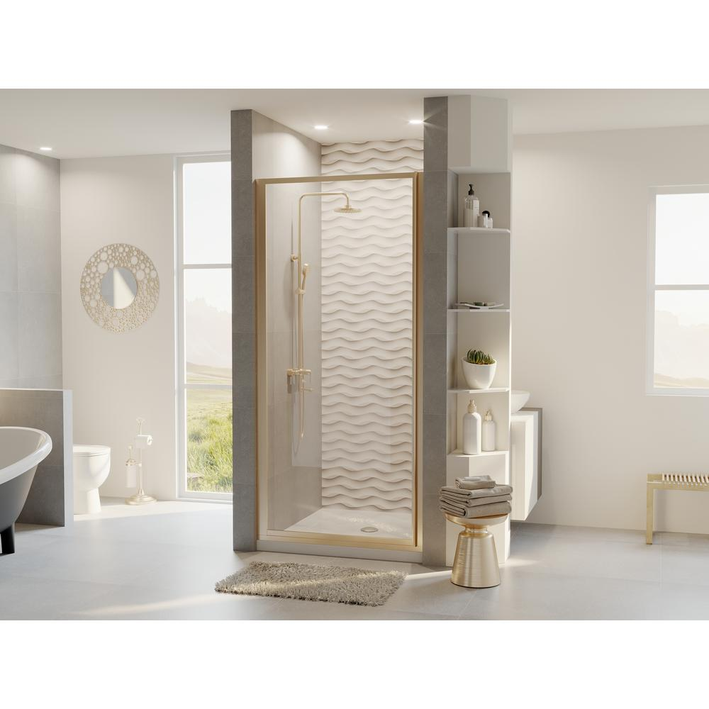 Coastal Shower Doors Legend 33.625 in. to 34.625 in. x 68 in. Framed Hinged Shower Door in Brushed Nickel with Clear Glass