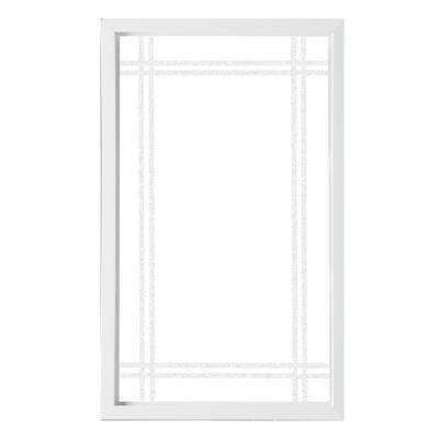 35.5 in. x 59.5 in. Prairie Decorative Glass Picture Vinyl Window - White