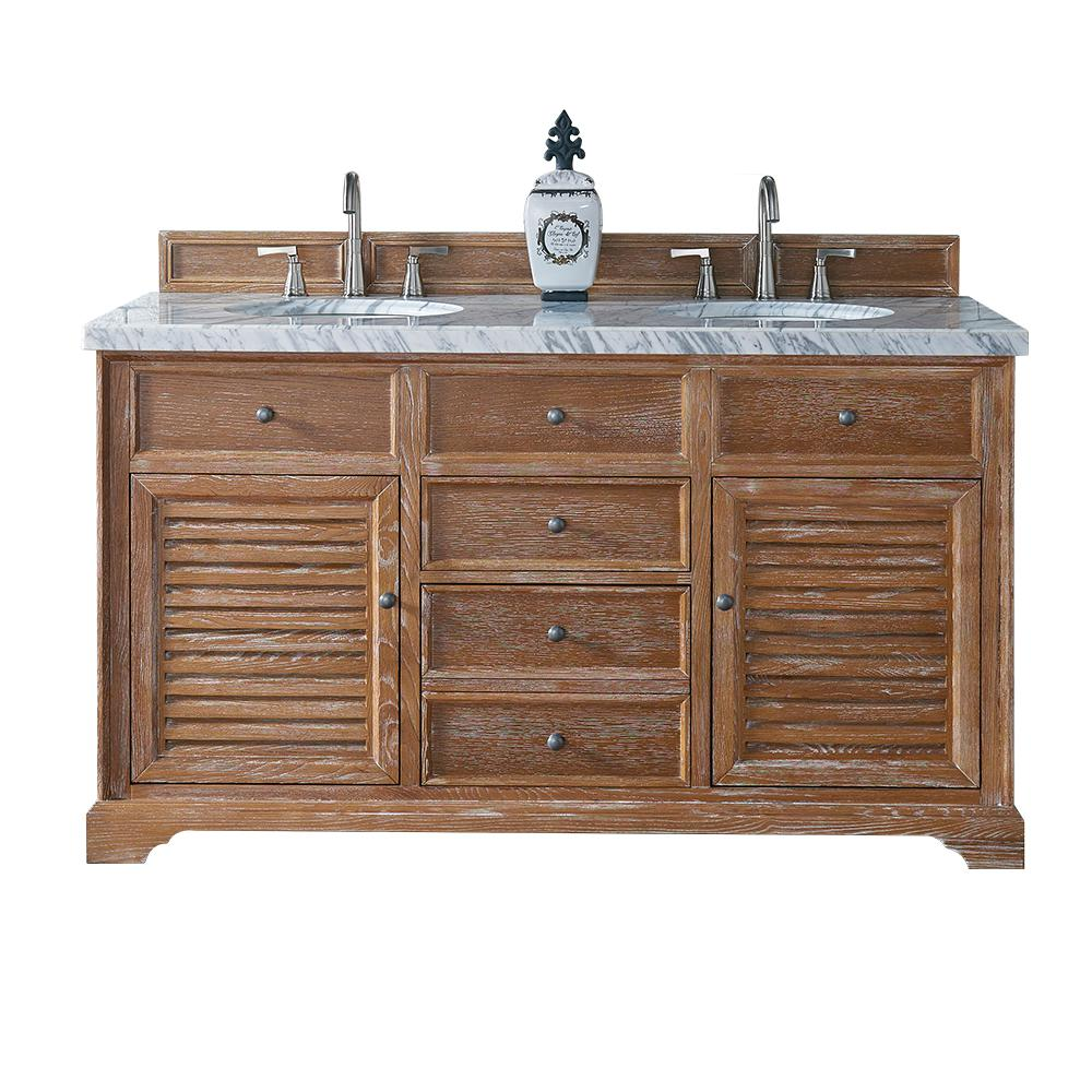 James Martin Signature Vanities Savannah 60 in. W Double Vanity in Driftwood with Marble Vanity Top in Carrara White with White Basin