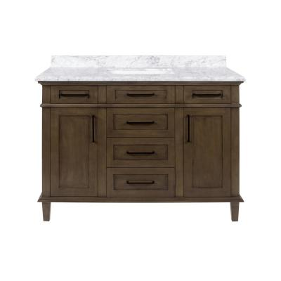 Sonoma 48 in. W x 22 in. D Bath Vanity in Almond Latte with Carrara Marble Vanity Top in White with White Basin