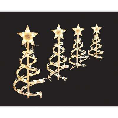 clear spiral tree pathway lights set of 4 - Christmas Solar Pathway Lights