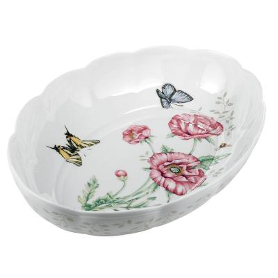 Butterfly Meadow Scalloped 9 in. Dia 2 Qt. Multi Color Porcelain Oval Baker