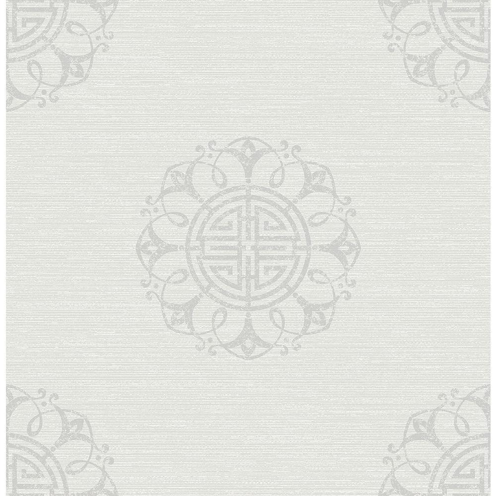 Lien White Fountain Medallion Wallpaper Sample