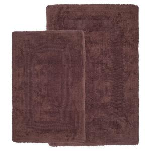 Lavish Home Chocolate 1 ft. 10 inch x 2 ft. 11 inch Cotton 2-Piece Bath Rug Set by Lavish Home