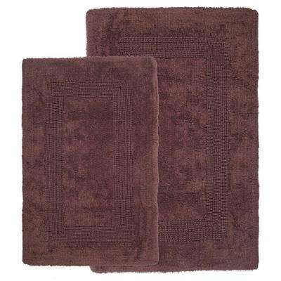 Chocolate 1 ft. 10 in. x 2 ft. 11 in. Cotton 2-Piece Bath Rug Set