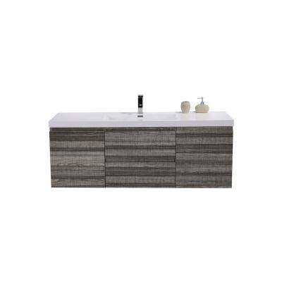 Bohemia 58.75 in. W Bath Vanity in High Gloss Ash Gray with Reinforced Acrylic Vanity Top in White with White Basins