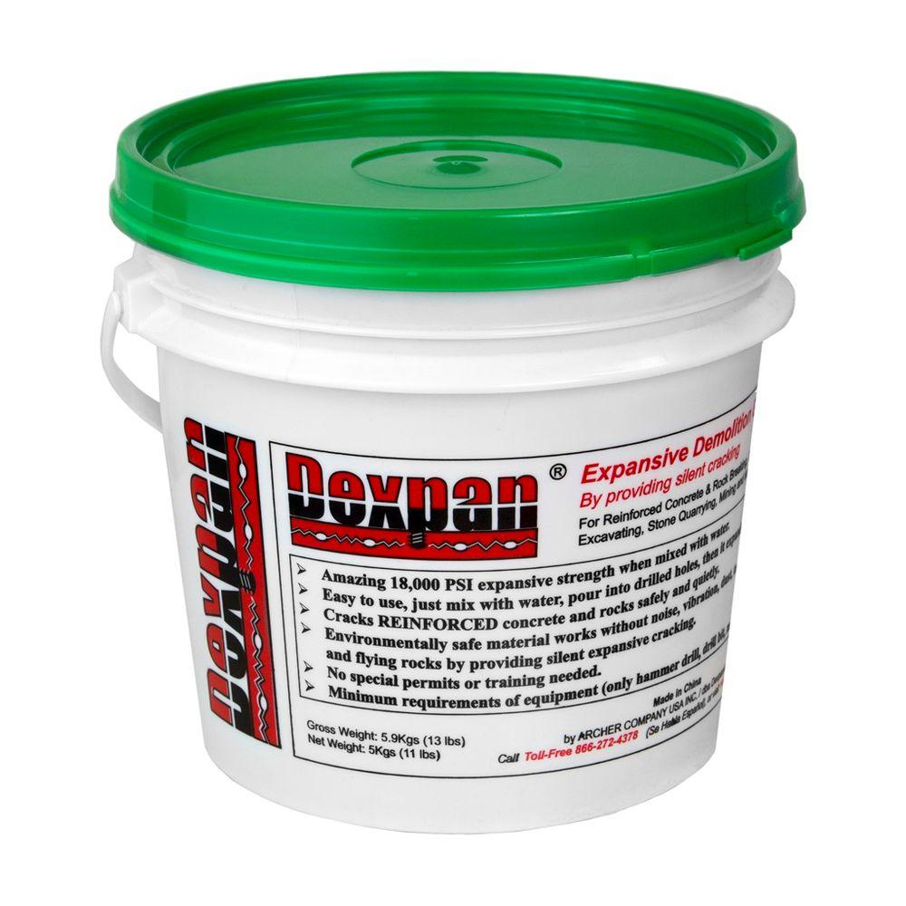 Dexpan 11 lb. Bucket Type 2 (50F-77F) Expansive Demolition Grout for Concrete Rock Breaking and Removal