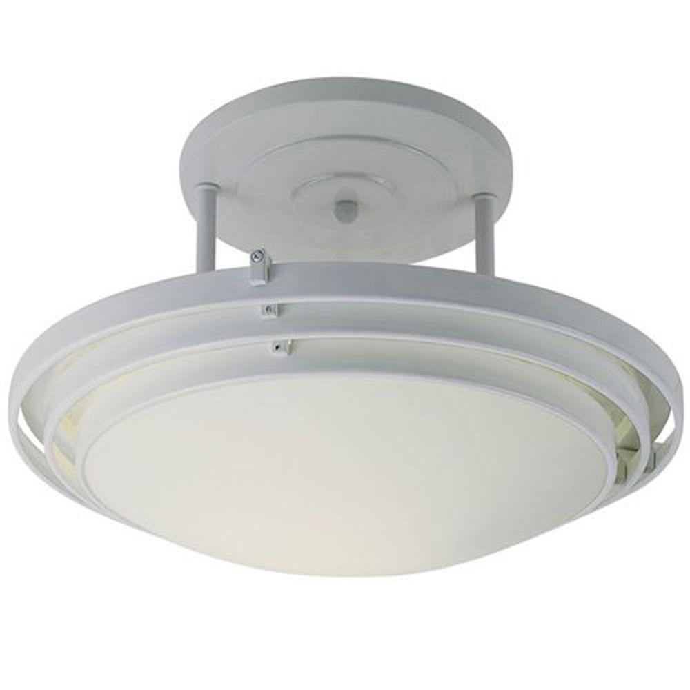 Stewart 2-Light White CFL Ceiling Semi-Flush Mount Light
