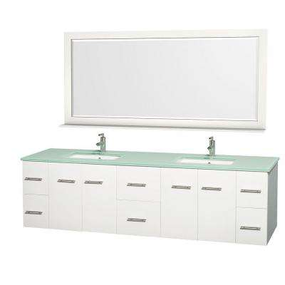 Centra 80 in. Double Vanity in White with Glass Vanity Top in Green, Square Sink and 70 in. Mirror