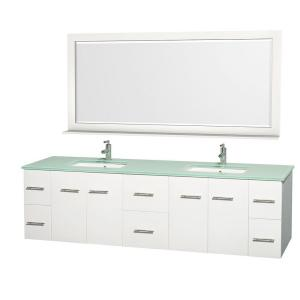 Wyndham Collection Centra 80 inch Double Vanity in White with Glass Vanity Top in Green, Square Sink and 70 inch Mirror by Wyndham Collection