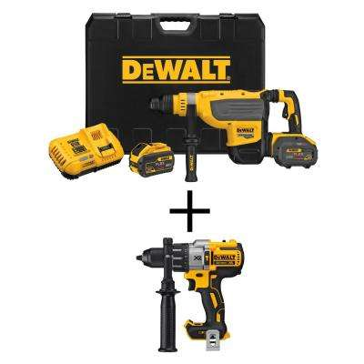 FLEXVOLT 60-Volt Max Lithium Ion Brushless Cordless 1-7/8 in. SDS Rotary Hammer Kit with Bonus Bare 1/2 in. Hammer Drill