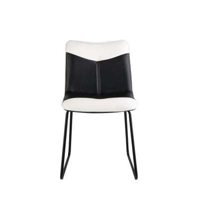 Narcissus Black and White Leatherette, Black Accent Chair