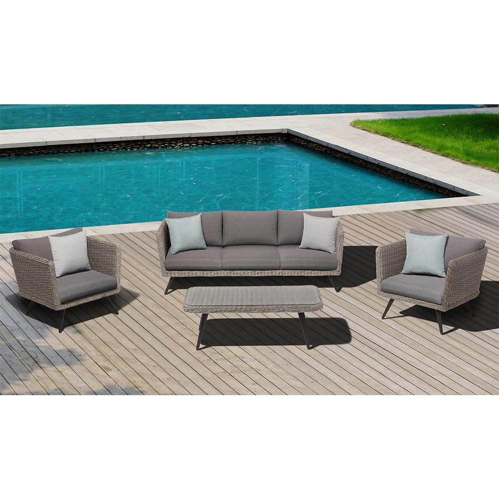OVE Decors Danforth 4 Piece Steel Patio Conversation Set With Gray  Cushions Danforth   The Home Depot