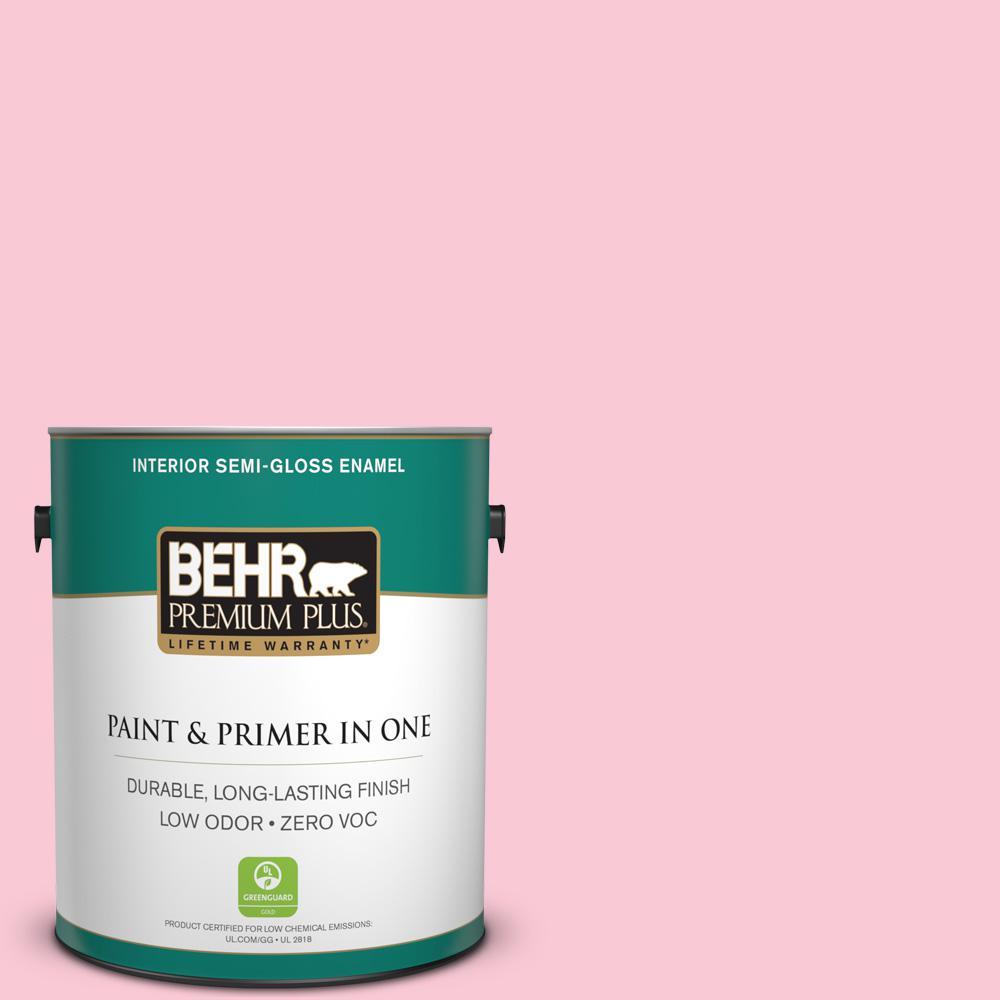 BEHR Premium Plus 1-gal. #110A-3 Palace Rose Zero VOC Semi-Gloss Enamel Interior Paint