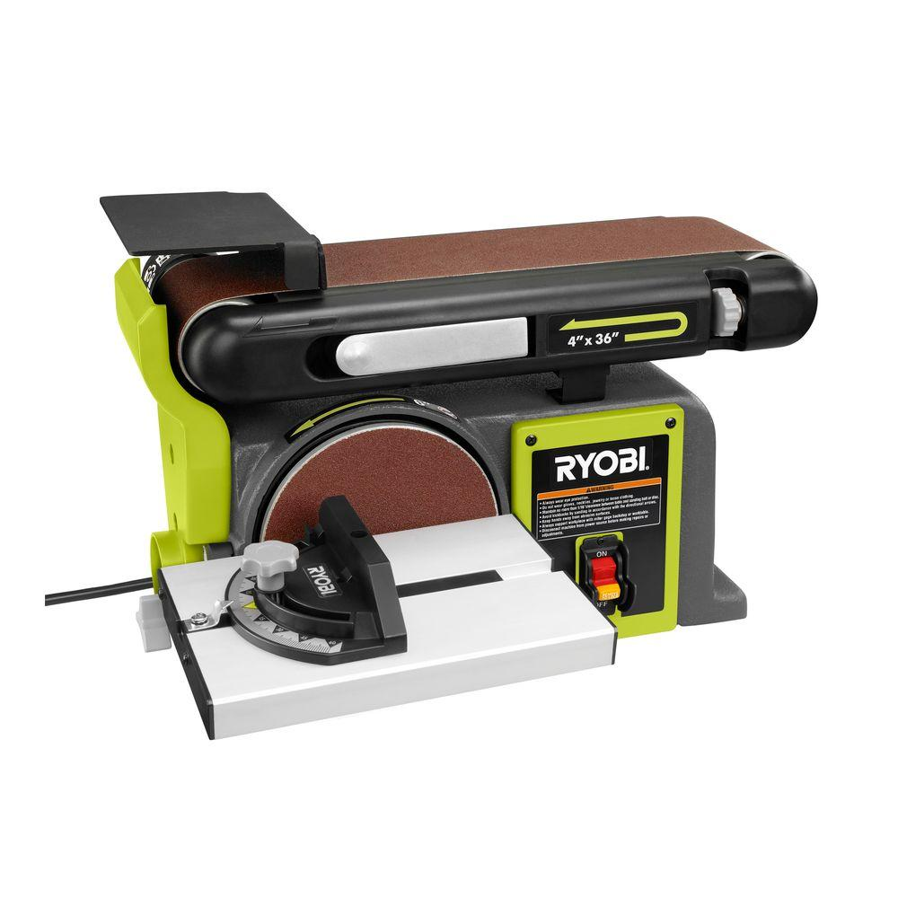 ryobi 120 volt bench sander green bd4601g the home depot. Black Bedroom Furniture Sets. Home Design Ideas