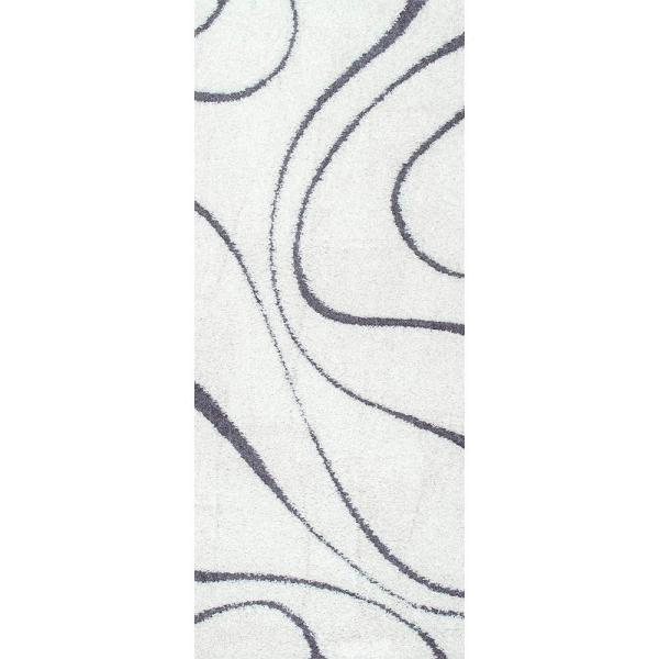 Carolyn Contemporary Curves Shag White 3 ft. x 8 ft. Runner