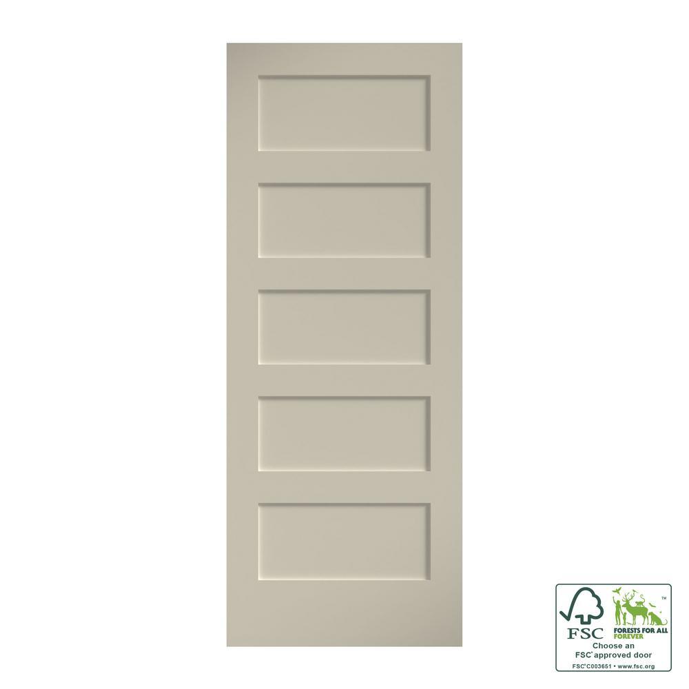 24 in. x 80 in. x 1-3/8 in. Shaker White Primed 5-Panel Solid Core Wood Interior Slab Door