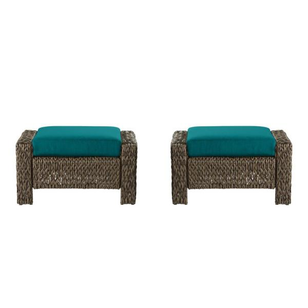Laguna Point Brown Wicker Outdoor Patio Ottoman with Sunbrella Peacock Blue-Green Cushions (2-Pack)