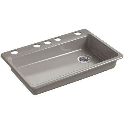 Riverby Undermount Cast Iron 33 in. 5-Hole Single Bowl Kitchen Sink in Cashmere
