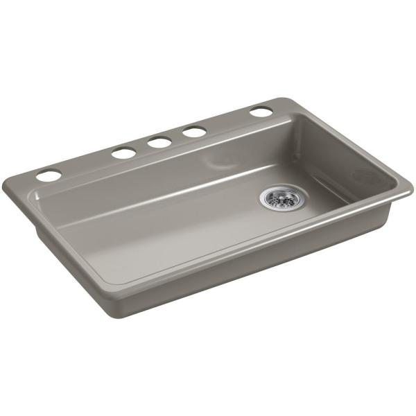 KOHLER Riverby Undermount Cast Iron 33 in. 5-Hole Single ...