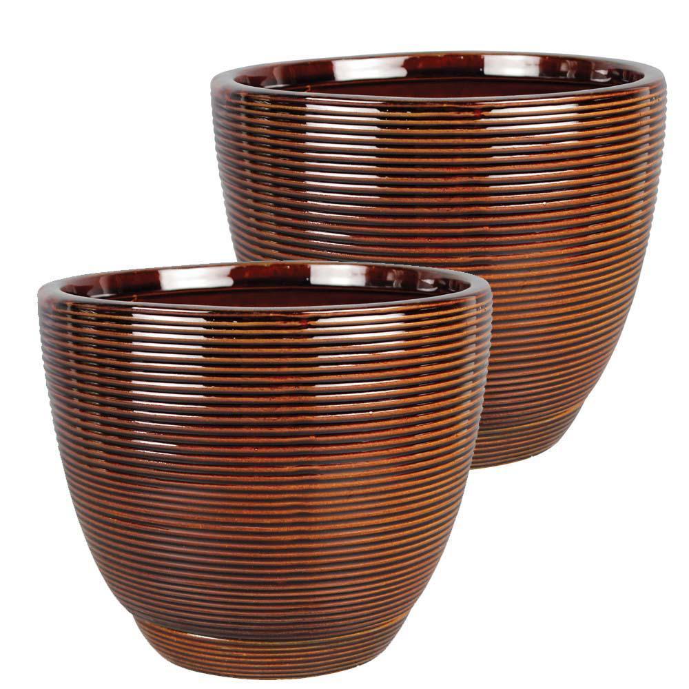 Caylin 8 in. Dia  Java Ceramic Planter (2-Pack)