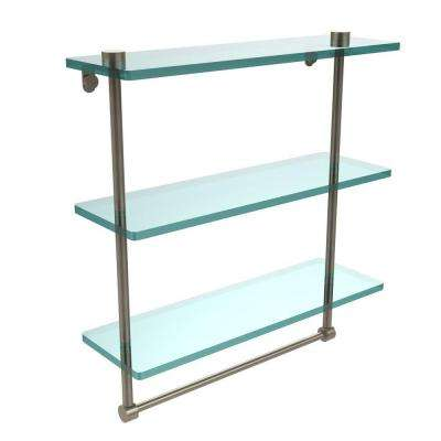 16 in. L  x 18 in. H  x 5 in. W 3-Tier Clear Glass Bathroom Shelf with Towel Bar in Antique Pewter