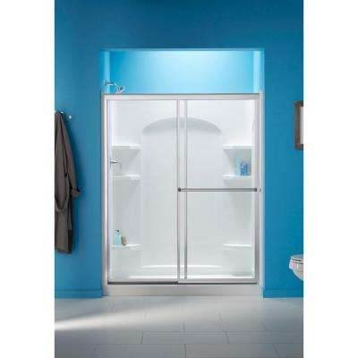 Prevail 59-3/8 x 70-1/4 in. Framed Sliding Shower Door in Silver with Handle