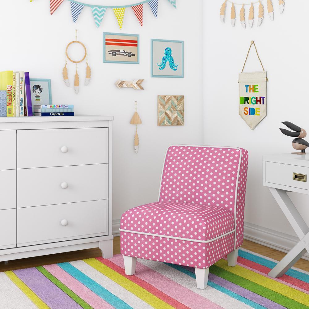 Baby Relax Pink Polka Dots Corinna Kid Size Slipper Chair De8942