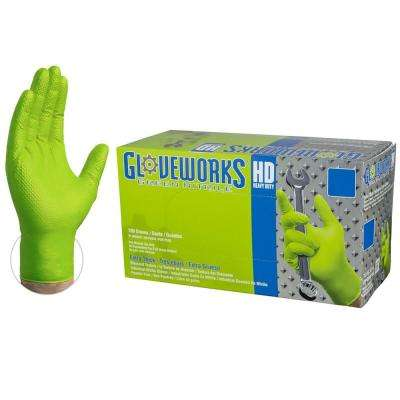 Green Nitrile Diamond Texture Industrial Powder-Free 8 Mil, Disposable Gloves (100-Count) - Large