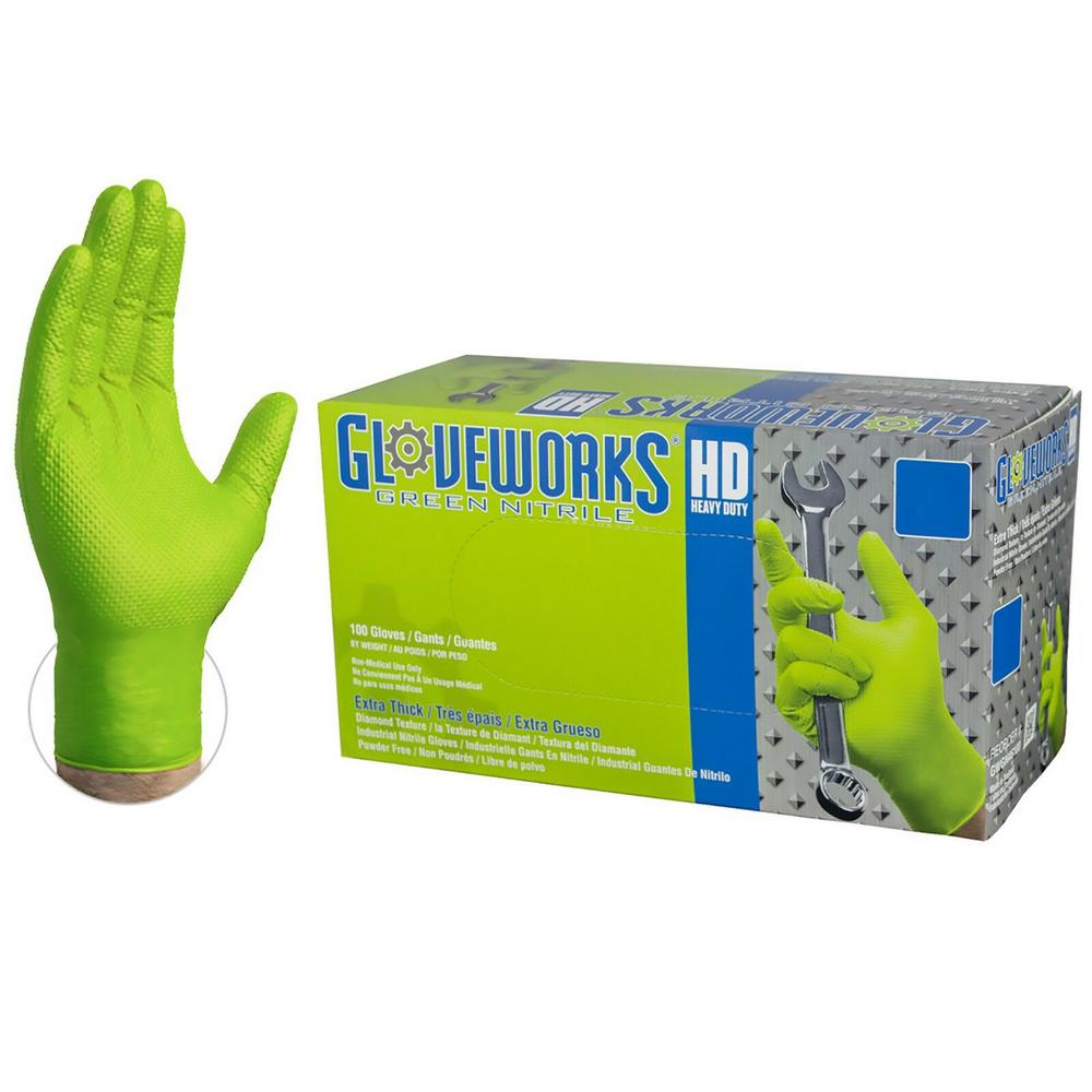 Gloveworks Large Diamond Texture Green Nitrile Industrial Powder-Free Disposable Gloves (100-Count)