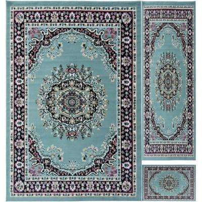 Paterson Collection Traditional Medallion Design Sage Green 5 ft. x 7 ft. 3-Piece Rug Set