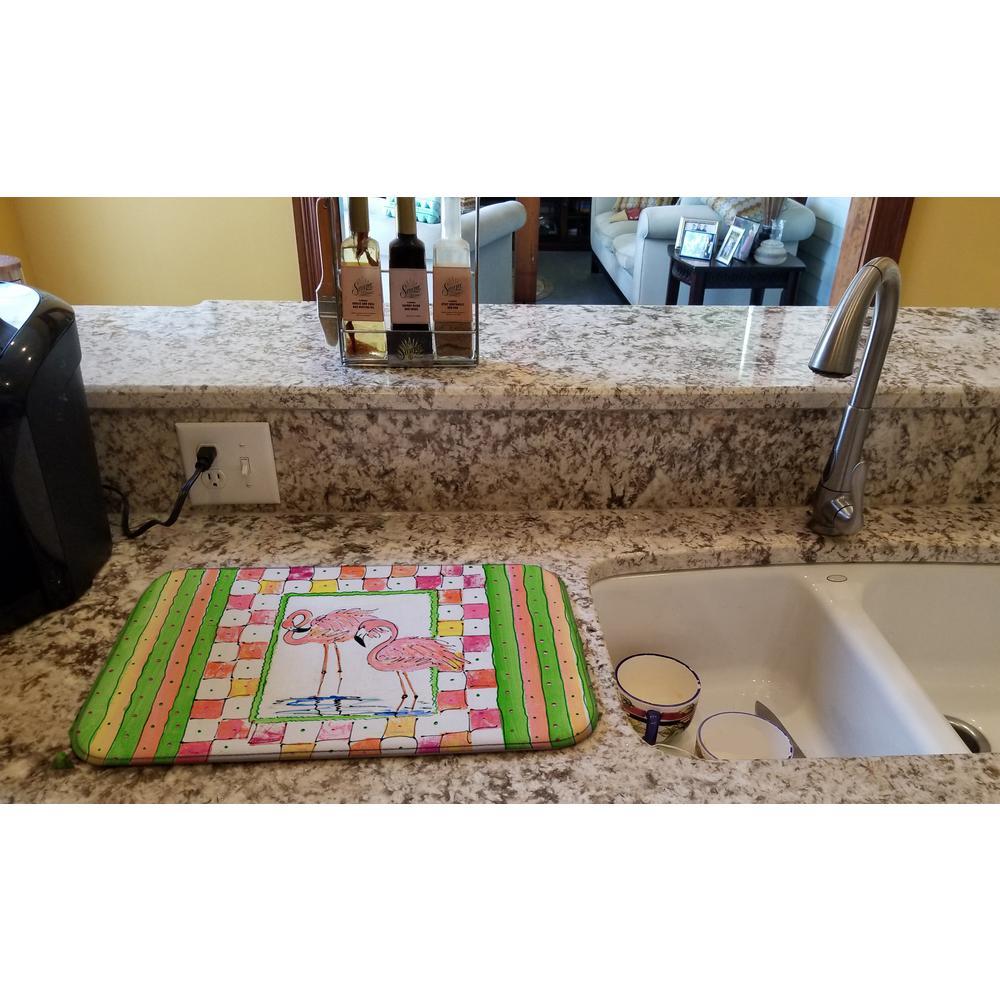 14 in. x 21 in. Multicolor Bird - Flamingo Dish Drying Mat