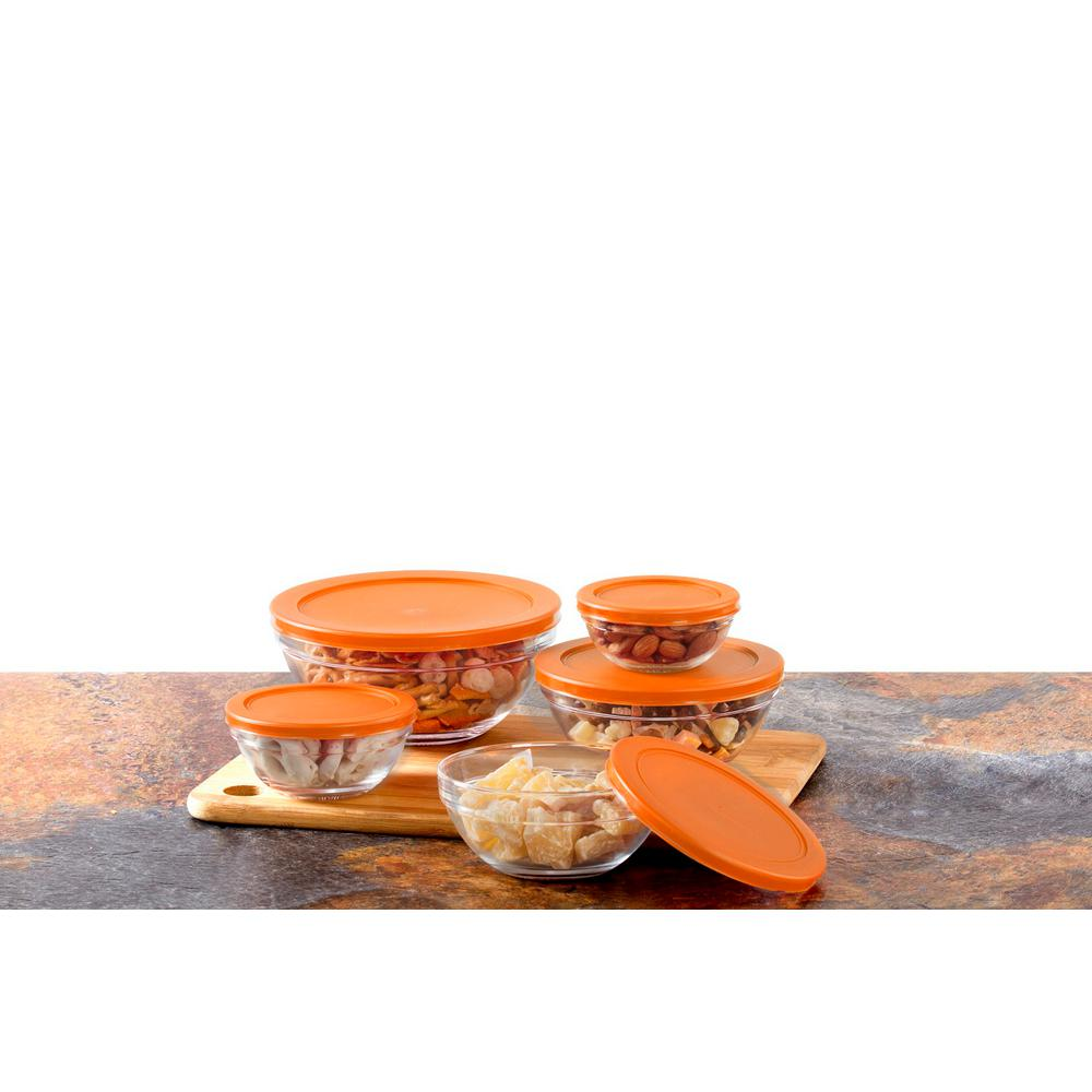 10-Piece Glass Food Storage Bowls with Orange Lids